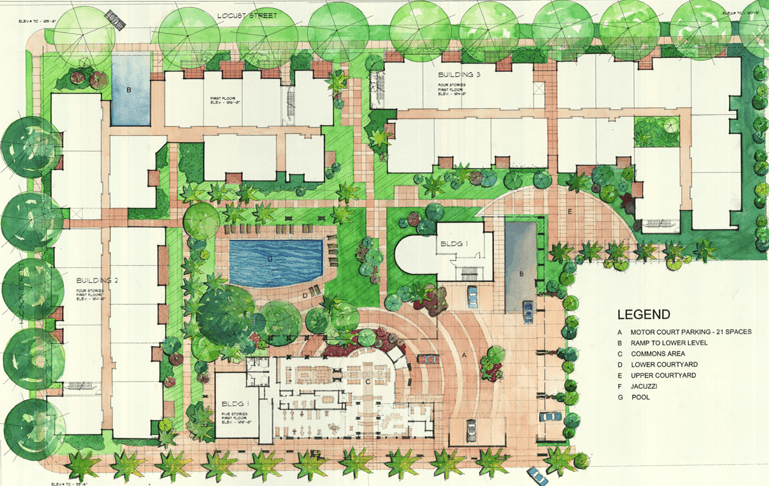 THE SITE PLAN BELOW IS FOR ANOTHER APARTMENT BUILDING COMPLEX THAT HAS BEEN COMPLETED IN PASADENA BOTH PROJECTS WERE BY DAN OBRIEN AS